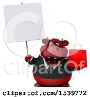 3d Red Business Bull Holding A Shopping Bag On A White Background