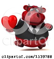 Poster, Art Print Of 3d Red Business Bull Holding A Heart On A White Background