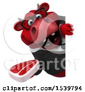 3d Red Business Bull Holding A Steak On A White Background