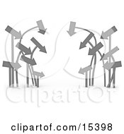 Cluster Of Arrows Leading In The Same Direction Clipart Illustration Image