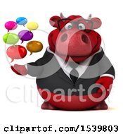 3d Red Business Bull Holding Messages On A White Background