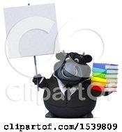 3d Black Business Bull Holding Books On A White Background