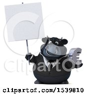 3d Black Business Bull Holding A Euro On A White Background