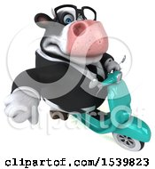 3d Business Holstein Cow Riding A Scooter On A White Background