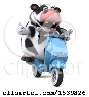 Clipart Of A 3d Holstein Cow Riding A Scooter On A White Background Royalty Free Illustration