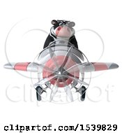 Clipart Of A 3d Business Holstein Cow Flying A Plane On A White Background Royalty Free Illustration by Julos