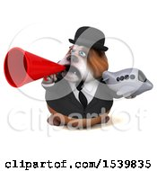 3d Gentleman Or Business Bulldog Holding A Plane On A White Background