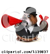 3d Gentleman Or Business Bulldog Holding A Chocolate Egg On A White Background