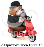 3d Gentleman Or Business Bulldog Riding A Scooter On A White Background