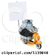 Clipart Of A 3d White Business Monkey Yeti Riding A Scooter On A White Background Royalty Free Illustration