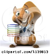 Poster, Art Print Of 3d Doctor Or Veterinarian Squirrel Holding Books On A White Background