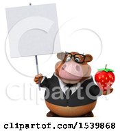 Clipart Of A 3d Brown Business Cow Holding A Strawberry On A White Background Royalty Free Illustration by Julos