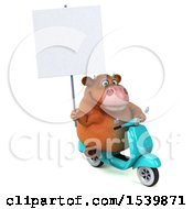 Clipart Of A 3d Brown Business Cow Riding A Scooter On A White Background Royalty Free Illustration by Julos