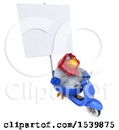 3d Chubby French Chicken Riding A Moped On A White Background