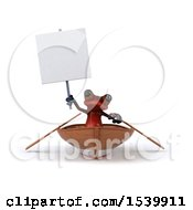 3d Red Frog Rowing A Boat On A White Background