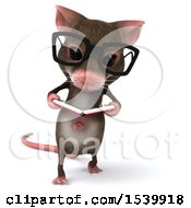 Clipart Of A 3d Mouse Reading On A White Background Royalty Free Illustration