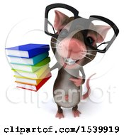 Clipart Of A 3d Mouse Holding Books On A White Background Royalty Free Illustration