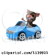 Clipart Of A 3d Mouse Driving A Convertible On A White Background Royalty Free Illustration