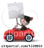 3d Mouse Driving A Convertible On A White Background