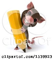 Clipart Of A 3d Mouse Writing With A Giant Pencil On A White Background Royalty Free Illustration
