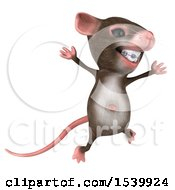 Clipart Of A 3d Mouse Jumping On A White Background Royalty Free Illustration