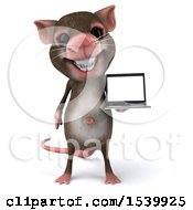 Clipart Of A 3d Mouse Holding A Laptop On A White Background Royalty Free Illustration