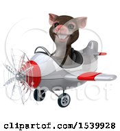 Clipart Of A 3d Mouse Flying A Plane On A White Background Royalty Free Illustration