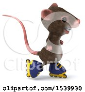 Clipart Of A 3d Mouse Roller Blading On A White Background Royalty Free Illustration
