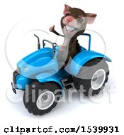 Clipart Of A 3d Mouse Operating A Tractor On A White Background Royalty Free Illustration