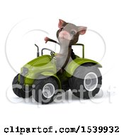 Poster, Art Print Of 3d Mouse Operating A Tractor On A White Background