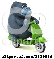 Clipart Of A 3d Gorilla Riding A Scooter On A White Background Royalty Free Illustration by Julos