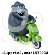 Clipart Of A 3d Gorilla Mascot Riding A Scooter On A White Background Royalty Free Illustration by Julos