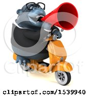 Clipart Of A 3d Business Gorilla Mascot Riding A Scooter On A White Background Royalty Free Illustration by Julos