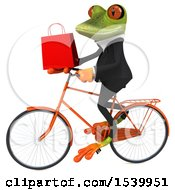 3d Green Frog Riding A Bike And Holding A Shopping Bag On A White Background