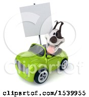 Poster, Art Print Of 3d Jack Russell Terrier Dog Driving A Convertible Car On A White Background