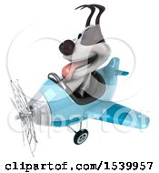 Poster, Art Print Of 3d Jack Russell Terrier Dog Aviator Pilot Flying An Airplane On A White Background