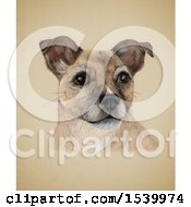 Clipart Of A Portrait Of A Dog On Sepia Royalty Free Illustration