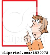 Clipart Of A Woman Pointing To A Warning Or Notice Sign Royalty Free Vector Illustration