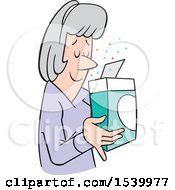 Clipart Of A Senior White Woman Smelling A Pleasant Aroma From A Boxed Product Royalty Free Vector Illustration by Johnny Sajem