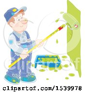 Clipart Of A Caucasian Male Painter Using A Roller Brush To Paint A Wall Royalty Free Vector Illustration by Alex Bannykh