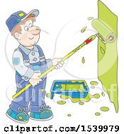 Clipart Of A White Male Painter Using A Roller Brush To Paint A Wall Royalty Free Vector Illustration