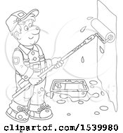 Clipart Of A Lineart Male Painter Using A Roller Brush To Paint A Wall Royalty Free Vector Illustration by Alex Bannykh