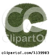 Clipart Of A 3d Grassy Capital Letter C On A White Background Royalty Free Illustration