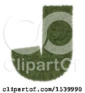 Clipart Of A 3d Grassy Capital Letter J On A White Background Royalty Free Illustration