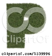 Clipart Of A 3d Grassy Capital Letter P On A White Background Royalty Free Illustration