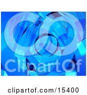 Abstract Blue Background Resembling Glass Ribbons Around An Orb Clipart Illustration Image