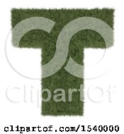 Clipart Of A 3d Grassy Capital Letter T On A White Background Royalty Free Illustration