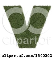 Clipart Of A 3d Grassy Capital Letter V On A White Background Royalty Free Illustration