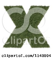 Clipart Of A 3d Grassy Capital Letter X On A White Background Royalty Free Illustration