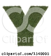 Clipart Of A 3d Grassy Capital Letter Y On A White Background Royalty Free Illustration